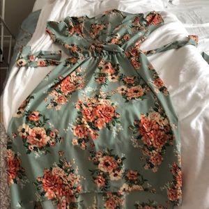 Mint green hi-low dress